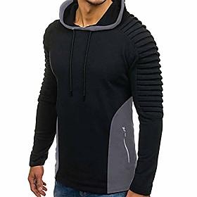 Men's Hoodie Color Block Hoodies Sweatshirts  Black Gray