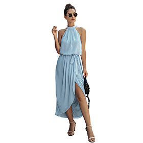Women's Chiffon Dress Maxi long Dress - Sleeveless Solid Color Backless Summer Halter Neck Casual Sexy Going out Slim 2020 Navy Blue Light Blue S M L XL XXL