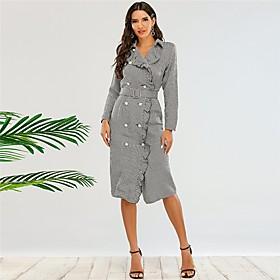 Women's Sheath Dress Short Mini Dress - Long Sleeve Houndstooth Button Fall Shirt Collar Sexy Party 2020 Gray S M L XL