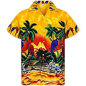 funky hawaiian shirt, parrot, yellow, 9xl