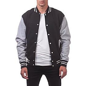 men's varsity fleece baseball jacket, black/heather gray, small