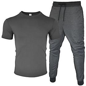 Men's 2-Piece Drawstring Tracksuit Sweatsuit Jogging Suit Short Sleeve 2pcs Cotton Breathable Moisture Wicking Soft Fitness Gym Workout Running Jogging Trainin
