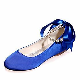 women flat satin round toe wedding ballet bridal shoes ribbon tie ankle strap party dress shoes-royal blue-9.5-10