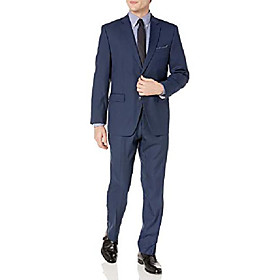 men's two piece finished bottom slim fit suit, blue dobby, 38 regular