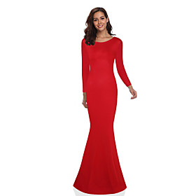 Women's Sheath Dress Maxi long Dress - Long Sleeve Solid Color Backless Summer Elegant Party Slim 2020 White Black Blue Red S M L XL