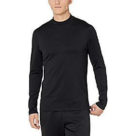 amazon brand - men's thermal long sleeve mock neck athletic-fit top, black, x-large