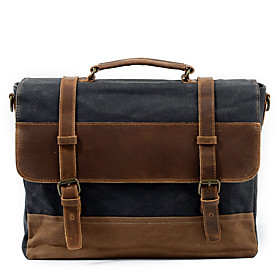 Men's Bags Canvas Briefcase / Top Handle Bag Zipper for Office  Career Dark Gray / Coffee