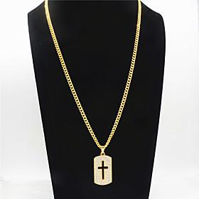 Men's Women's Clear Cubic Zirconia Pendant Necklace Long Necklace Pave Cross European Rock Hip Hop Alloy Gold 75 cm Necklace Jewelry 1pc For Sport Gift Masquer