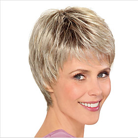 Synthetic Wig Curly Bob Pixie Cut Asymmetrical Wig Short Light Blonde Synthetic Hair 6 inch Women's Adorable Natural Hairline Exquisite Blonde