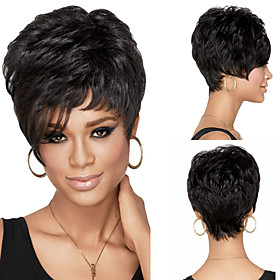 Synthetic Wig Curly Layered Haircut Wig Short Black Synthetic Hair Women's Classic Exquisite Fluffy Black