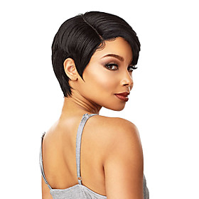 Synthetic Wig Straight Pixie Cut Asymmetrical Wig Short Natural Black Synthetic Hair 6 inch Women's Fashionable Design Adorable Exquisite Black