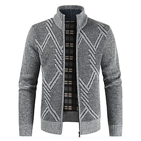 Men's Basic Knitted Plaid Sweater Long Sleeve Sweater Cardigans Stand Collar Fall Winter Light gray Dark Gray Brown