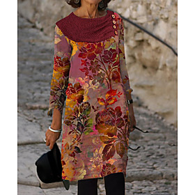 Women's Sheath Dress Knee Length Dress - 3/4 Length Sleeve Floral Button Print Autumn / Fall Elegant 2020 Rainbow M L XL XXL 3XL