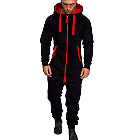 Men's Active Basic Zipper Front Hooded Black Army Green Light gray Slim Jumpsuit Solid Colored Drawstring / Long Sleeve