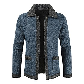 Men's Basic Solid Color Sweater Long Sleeve Sweater Cardigans Shirt Collar Fall Winter Red Dusty Blue Light gray