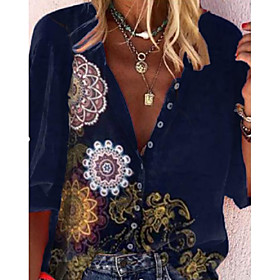 Women's Blouse Shirt Floral Abstract Flower Long Sleeve Print V Neck Tops Basic Basic Top Green Dusty Blue