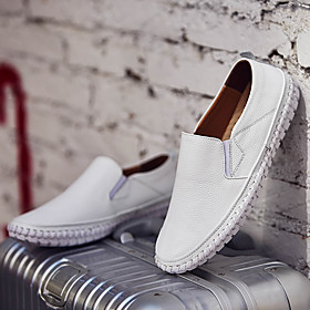 Men's Loafers  Slip-Ons Casual Daily Walking Shoes Nappa Leather Breathable Non-slipping Wear Proof White / Black / Yellow Fall