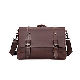Men's Bags PU Leather Laptop Bag / Briefcase / Top Handle Bag Belt Zipper for Office  Career Black / Coffee