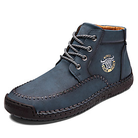 Men's Boots Casual Daily Outdoor Walking Shoes Faux Leather Wear Proof Booties / Ankle Boots Light Yellow / Black / Blue Fall / Winter