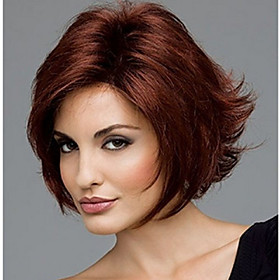 Synthetic Wig Curly Middle Part Wig Short Dark Brown Synthetic Hair Women's Cool Middle Part Bob Dark Brown