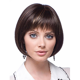 Synthetic Wig kinky Straight Bob Wig Short Brown Synthetic Hair Women's Fashionable Design Classic Exquisite Brown