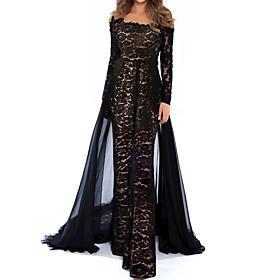 Jumpsuits Beautiful Back Floral Engagement Formal Evening Dress Illusion Neck Long Sleeve Floor Length Lace Tulle with Appliques 2020