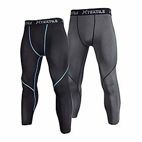 men's 2 pack compression pants 3/4 capri baselayer cool dry running tights leggings (black/grey (2 pack), medium)
