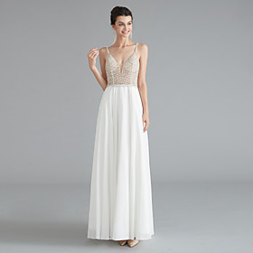 A-Line Empire Sexy Engagement Formal Evening Dress V Neck Sleeveless Floor Length Chiffon with Beading Split 2020