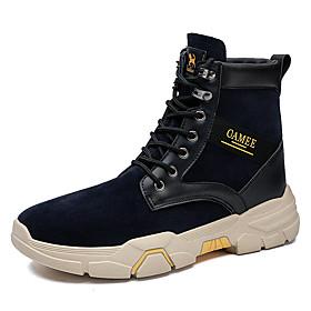 Men's Boots Classic / Vintage / British Outdoor Office  Career Microfiber Non-slipping Wear Proof Khaki / Dark Blue Fall / Winter