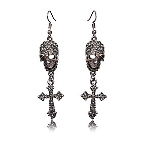 Men's Women's Hoop Earrings Criss Cross Skull Punk Earrings Jewelry Black / Silver For Halloween Festival 2pcs
