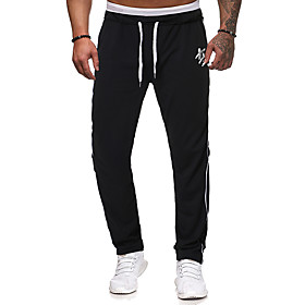 Men's Jogger Pants Elastic Waist Drawstring Cotton Stripes Sport Athleisure Pants Breathable Soft Comfortable Running Everyday Use Exercising General Use