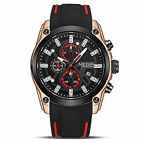 men's analogue sport chronograph luminous quartz watch with fashion silicone strap (2144 rose/black)
