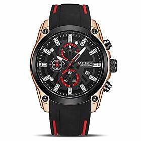 men's analogue sport chronograph luminous quartz watch with fashion silicone strap (2144 rose/black)