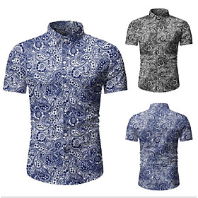 Men's Vacation Shirt Graphic Classic Tops Black Blue / Spring / Summer / Fall