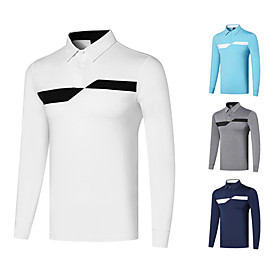 Men's 1 Piece Golf Polo Shirts Geometry UV Sun Protection Breathable Quick Dry Autumn / Fall Spring Winter Sports Outdoor / Cotton / Long Sleeve / Stretchy