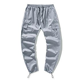 Men's Chinos Pants Solid Colored Black Blue Dark Gray M L XL