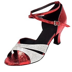 Women's Latin Shoes Heel Thick Heel Faux Leather Red