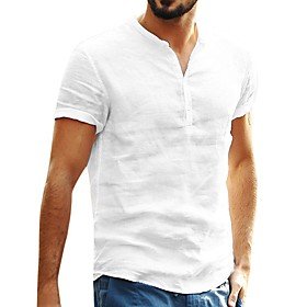 Men's Causal Shirt Solid Color Short Sleeve Tops Round Neck White Black Blushing Pink / Summer / Fall