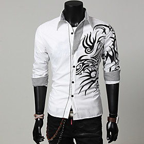 butamp; #39;s slim fit shirt long sleeves dragon print casual personality button down dress shirts black