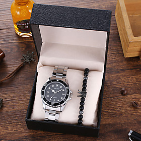 Men's Steel Band Watches Quartz Modern Style Stylish Classic Large Dial Analog Black Blue Red / Stainless Steel / Stainless Steel