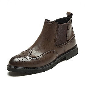 Men's Boots Casual Daily PU Booties / Ankle Boots Black / Brown Fall