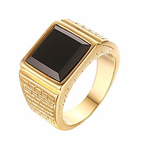 men's stainless steel black onyx gold ring europe and america style, size 13