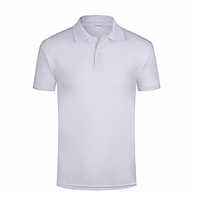 Men's Ceremony Polo Solid Color Tops Sapphire Kong Lan White / Summer