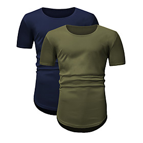 Men's 2pcs Daily T-shirt Solid Colored Short Sleeve Tops Round Neck Blue-Green / Sports