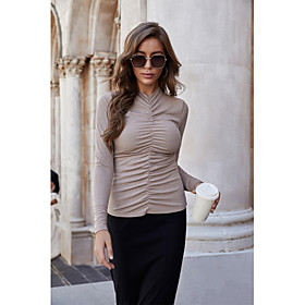 Women's Blouse Shirt Solid Colored Long Sleeve Pleated High Neck Tops Slim Basic Elegant Basic Top Black Beige