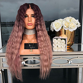 Synthetic Wig Curly Loose Curl Middle Part Lace Front Wig Long PinkRed Synthetic Hair Women's Fashionable Design Soft Fluffy Pink