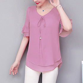 Women's Work Plus Size Blouse Shirt Solid Colored Ruffle Round Neck Tops Chiffon Business Basic Basic Top Blue Purple Red