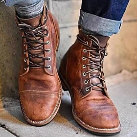 Men's Boots Work Boots Vintage Daily PU Dark Brown / Brown / Coffee Fall / Winter / Square Toe