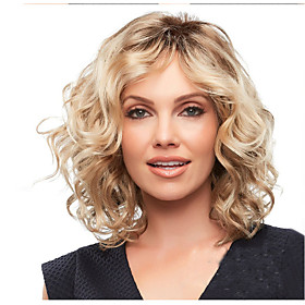 Synthetic Wig Bouncy Curl Middle Part Wig Short Long Light golden Synthetic Hair 65 inch Women's Color Gradient Highlighted / Balayage Hair Middle Part Blonde