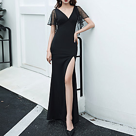 Mermaid / Trumpet Minimalist Sexy Party Wear Prom Dress V Neck Short Sleeve Floor Length Spandex Tulle with Split 2020